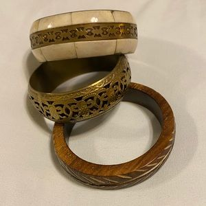 Vintage Bangles, set of 3 (wood + brass)